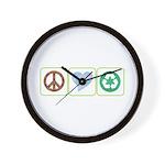 Peace, Love, Recycling Wall Clock