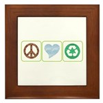 Peace, Love, Recycling Framed Tile