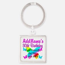 BLESSED 30TH Square Keychain