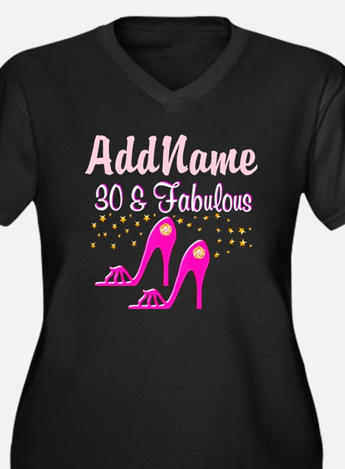 STYLISH 30TH Women's Plus Size V-Neck Dark T-Shirt