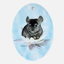 Chin Lily Blue Oval Ornament