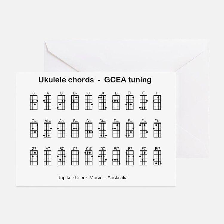 Ukulele chords Greeting Cards (Pk of 10)
