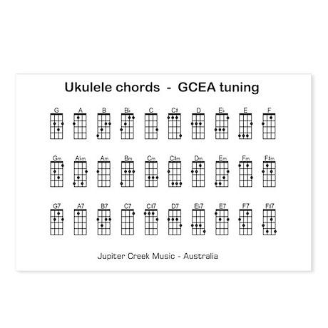 Ukulele chords Postcards (Package of 8)