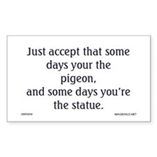 Pigeon and Statue Rectangle Bumper Stickers