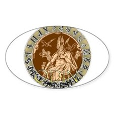Odin god of hunting Oval Decal