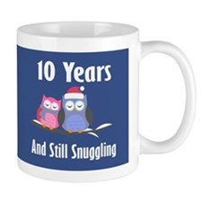 Cute 10th Anniversary Snuggly Owls Mugs