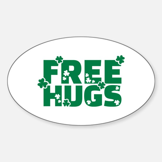 Free hugs shamrock Sticker (Oval)