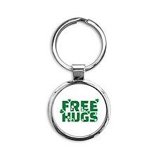 Free hugs shamrock Round Keychain