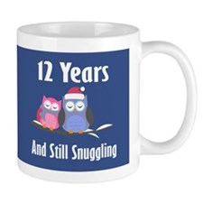 Cute 12th Anniversary Snuggly Owls Mugs