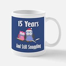 Cute 15th Anniversary Snuggly Owls Mugs