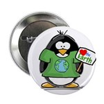 Love Earth Penguin Button