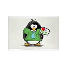 Love Earth Penguin Rectangle Magnet
