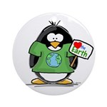 Love Earth Penguin Ornament (Round)