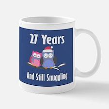 Cute 27th Anniversary Snuggly Owls Mugs