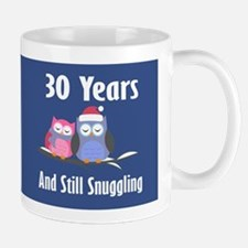 Cute 30th Anniversary Snuggly Owls Mugs