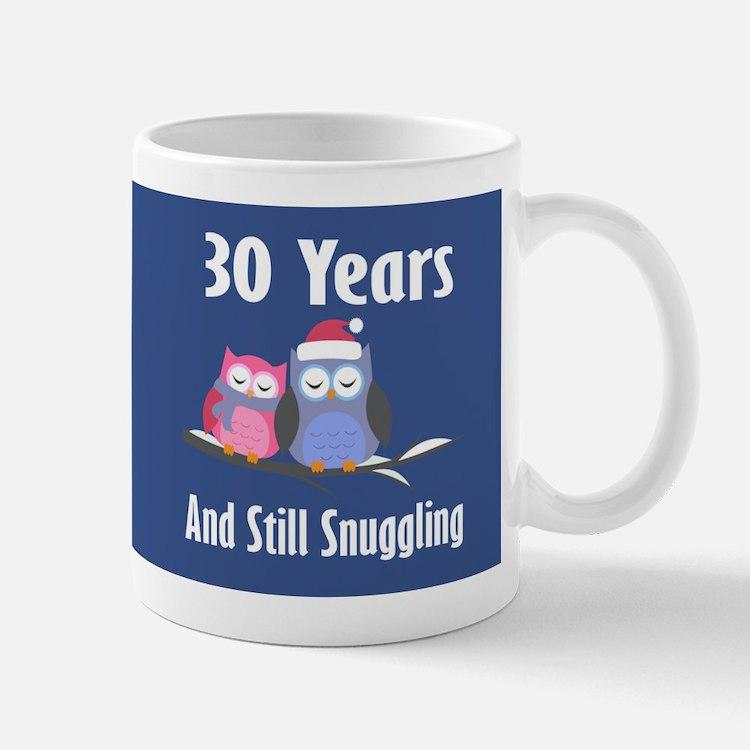 Cute 30th Anniversary Snuggly Owls Mugs