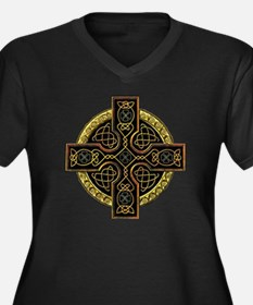 Celtic Cross Plus Size V-Neck Dark T-Shirt
