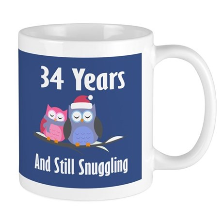 Cute 34th Anniversary Snuggly Owls Mugs