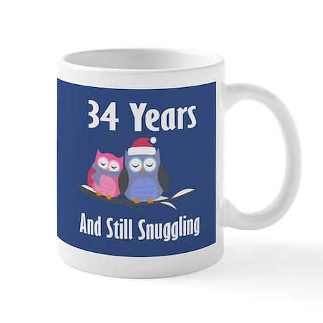 Cute 34th Anniversary Snuggly Owls Mugs