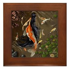 Koi Mermaid Framed Tile
