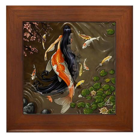 Koi Mermaid Framed Tile