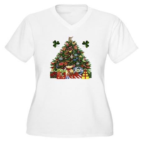 Shamrock Christmas Tree Plus Size V-Neck T-Shirt
