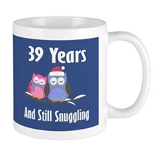Cute 39th Anniversary Snuggly Owls Mugs