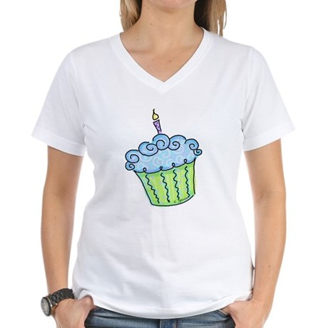 Cute Cupcake (blue) Women's V-Neck T-Shirt