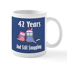 Cute 42nd Anniversary Snuggly Owls Mugs