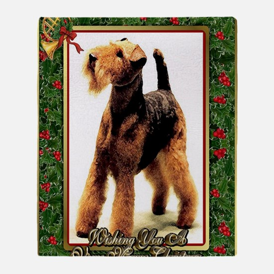Airedale Terrier Dog Christmas Throw Blanket
