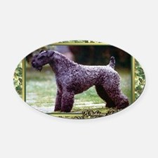 Kerry Blue Terrier Dog Christmas Oval Car Magnet