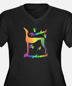 TOUCHED BY A GREYHOUND RNBW WMNS + BLK V NECK T