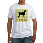 plaid love my lab Fitted T-Shirt