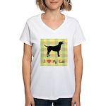 plaid love my lab Women's V-Neck T-Shirt