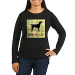 plaid love my lab Women's Long Sleeve Dark T-Shirt
