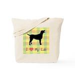 plaid love my lab Tote Bag