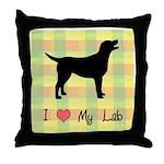 plaid love my lab Throw Pillow