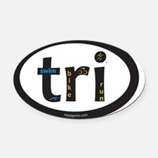 Tri Design Oval Car Magnet