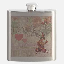Love Heart Vintage Collage Flask