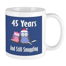 Cute 45th Anniversary Snuggly Owls Mugs