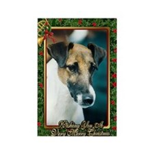 Smooth Fox Terrier Dog Christmas Rectangle Magnet