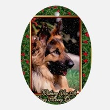 Long Haired German Shepherd Dog Chri Oval Ornament