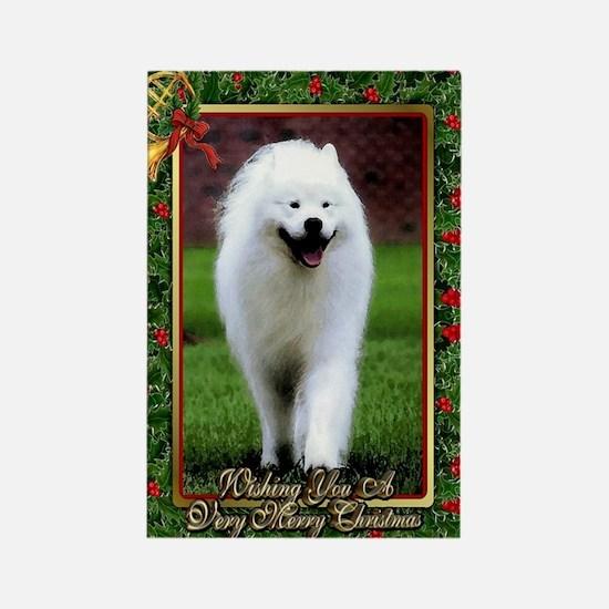 Samoyed Dog Christmas Rectangle Magnet