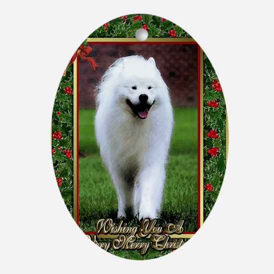 Samoyed Dog Christmas Oval Ornament