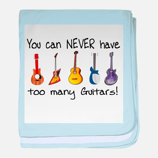 Too many guitars baby blanket