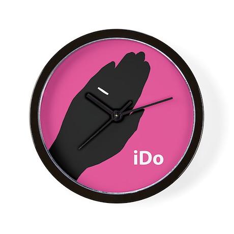 """I Do"" Wedding Ring Pink Wall Clock"