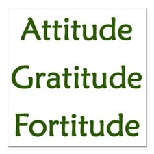 "Attitude, Gratitude, For Square Car Magnet 3"" x 3"""