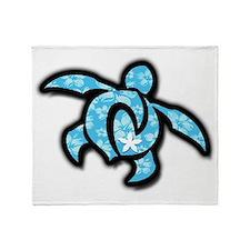 blue hawaiian print turtle Throw Blanket