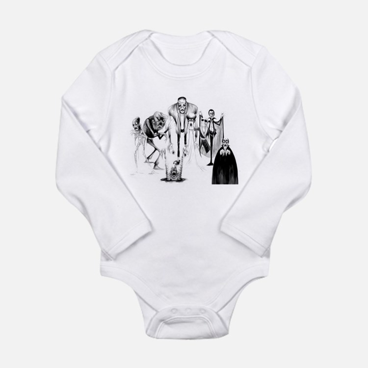 Classic movie monsters Long Sleeve Infant Bodysuit