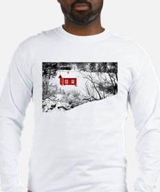 Red cabin in the snow Long Sleeve T-Shirt
